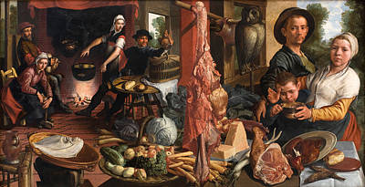 Pieter Aertsen Painting - The Fat Kitchen. An Allegory by Pieter Aertsen