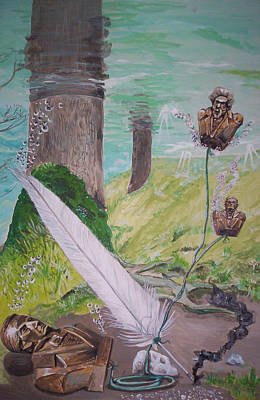 The Feather And The Word La Pluma Y La Palabra Print by Lazaro Hurtado