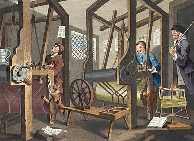 Tankard Drawing - The Fellow Prentices At Their Looms by William Hogarth