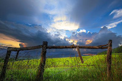 The Fence At Cades Cove Print by Debra and Dave Vanderlaan