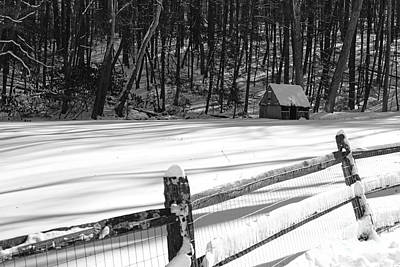 Mill In Woods Photograph - The Fence Line In Black And White by Paul Ward