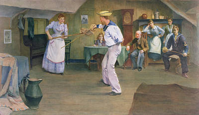 Interior Scene Painting - The Fencing Lesson by Frederick James McNamara Evans