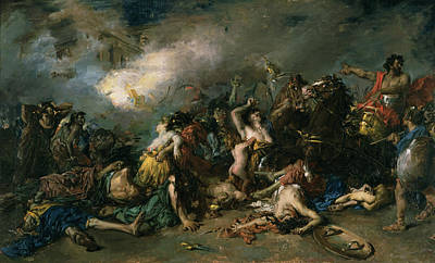 Abduction Photograph - The Final Day Of Sagunto In 219bc, 1869 Oil On Canvas by Francisco Domingo Marques