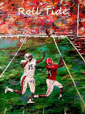 Pallet Knife Painting - The Final Yard Roll Tide  by Mark Moore