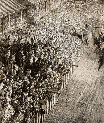 Dore Painting - The Finishing Line Of The Derby by Gustave Dore
