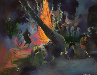 Bonfire Painting - The Fire Dance by Mountain Dreams