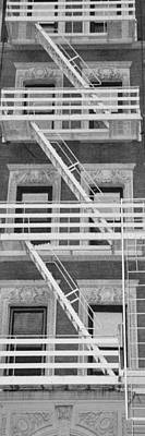 The Fire Escape In Black And White Print by Rob Hans