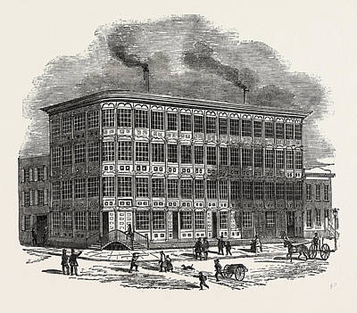 Cast Iron Drawing - The First Cast Iron House Built In New York by American School