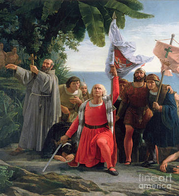 The First Landing Of Christopher Columbus In America Print by  Dioscoro Teofilo Puebla Tolin