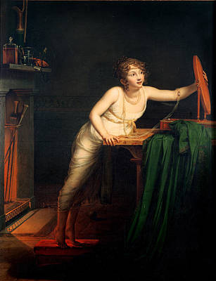 Conscious Photograph - The First Sense Of Coquetry, 1804 Oil On Canvas by Pauline Auzou