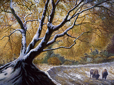 Bison Mixed Media - The First Snow Idaho by Gregory Perillo