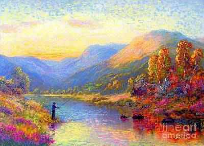 River Painting - Fishing And Dreaming by Jane Small
