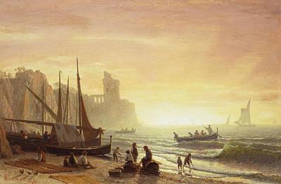 Sailboat Photograph - The Fishing Fleet by Albert Bierstadt
