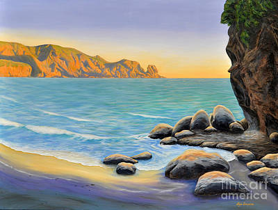 Surreal Painting - The Fishing Spot At Bethells by Lyn Simpson
