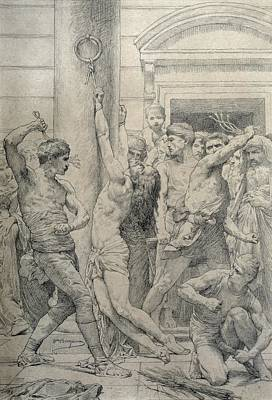 The Flagellation Of Christ Print by William Adolphe Bouguereau