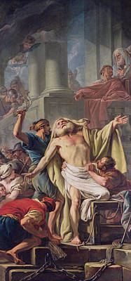 The Flagellation Of St. Andrew, 1761 Oil On Canvas Print by Jean Baptiste Deshays de Colleville