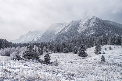 The Flatirons - Winter Print by Aaron Spong