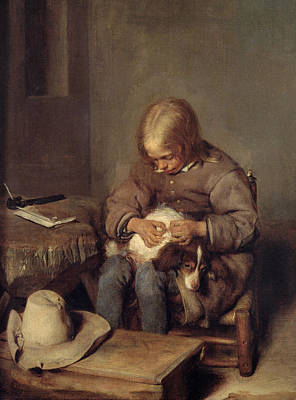 The Flea-catcher Boy With His Dog C.1655 Oil On Canvas Print by Gerard ter Borch or Terborch
