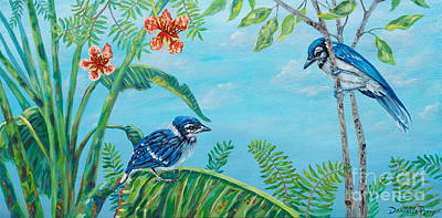 Baby Bluejay Painting - The Fledgling by Danielle  Perry