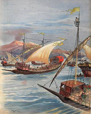 Genoa Drawing - The Fleet Of Doria, Naples by Albert Robida