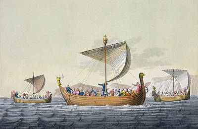 Viking Ships Drawing - The Fleet Of William The Conqueror by Italian School
