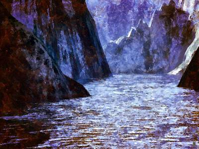 The Flow Of The Mighty River Anduin Print by Mario Carini