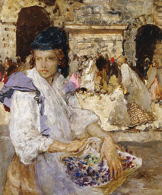 Bundle Painting - The Flowerseller by Mose Bianchi