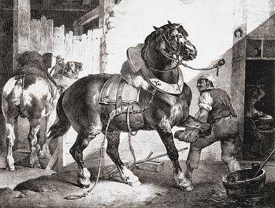 Horses Drawing - The Forge, From Etudes De Cheveaux, 1822 by Theodore Gericault