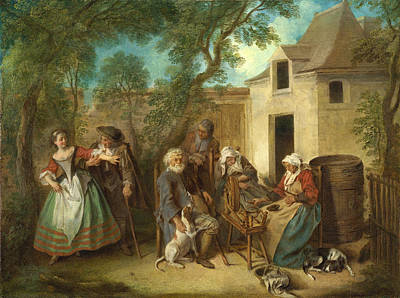 Old Age Painting - The Four Ages Of Man. Old Age by Nicolas Lancret