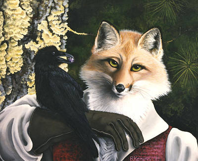 Moral Painting - The Fox And The Cheese by Rebeca Gallant