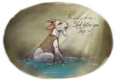 The Fox And The Goat Iv Print by Ashraf Ghori