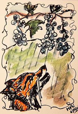 The Fox And The Grapes Print by Mimulux patricia no