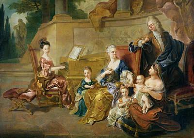 Music Recital Photograph - The Franqueville Family, 1711 Oil On Canvas by Francois de Troy