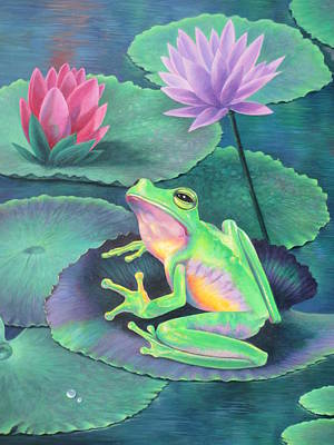 Lily Pond Painting - The Frog by Vivien Rhyan