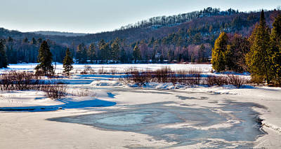 Winter Scenes Photograph - The Frozen Moose River II - Old Forge New York by David Patterson