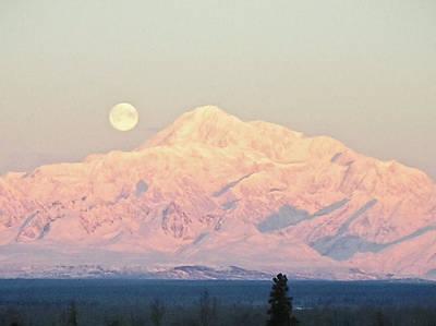 The Full Moon Over Denali Print by Dora Miller