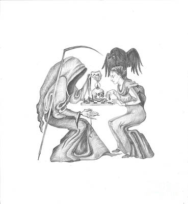 Hourglass Drawing - The Game by Margaryta Yermolayeva