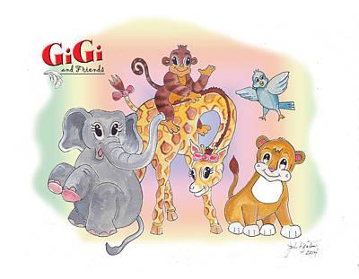 Animation Painting - Gigi And Friends by John Keaton