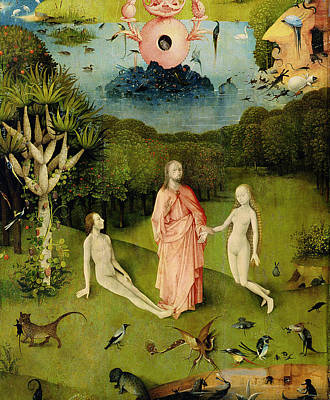 Of Cats Photograph - The Garden Of Earthly Delights The Garden Of Eden, Left Wing Of Triptych, C.1500 Oil On Panel by Hieronymus Bosch