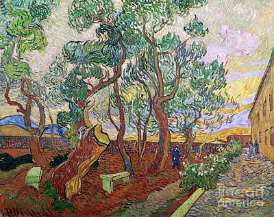 Perspective Painting - The Garden Of St Pauls Hospital At St. Remy by Vincent Van Gogh