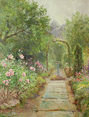 Bed Painting - The Garden Path by Ernest Walbourn