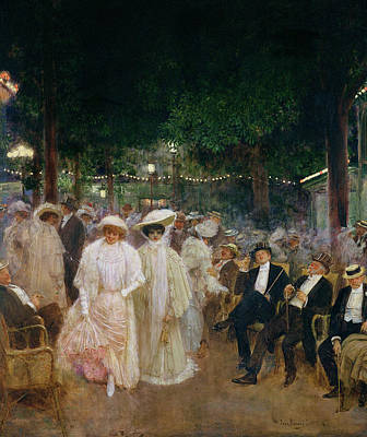 The Gardens Of Paris, Or The Beauties Of The Night, 1905 Oil On Canvas Print by Jean Beraud