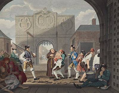 Entrance Drawing - The Gate Of Calais, Or O The Roast Beef by William Hogarth