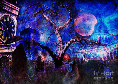 Haunted Mansion Mixed Media - The Gathering  by Alana Ranney