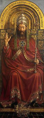 Cross Painting - The Ghent Altarpiece Open  by Jan Van Eyck