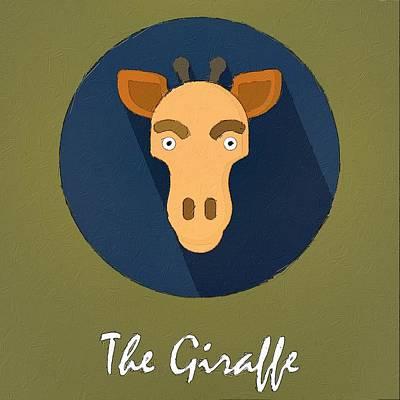 Giraffe Painting - The Giraffe Cute Portrait by Florian Rodarte