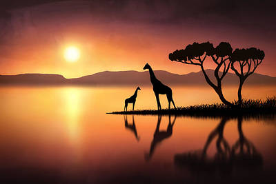 Giraffe Mixed Media - The Giraffes At Sunset by Jennifer Woodward