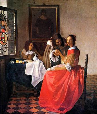 Women With Wine Painting - The Girl With A Wine Glass  by Johannes Vermeer