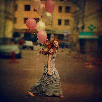 Red Balloons Photograph - The Girl With Balloons by Anka Zhuravleva