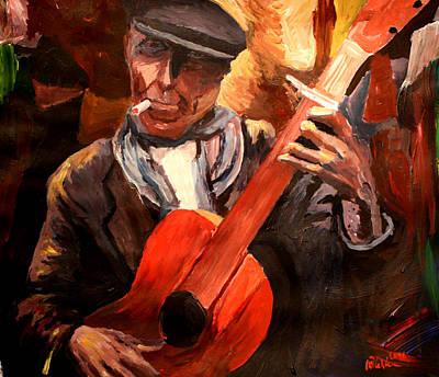 Gitarre Painting - The Gitarrero The Guitarplayer by M Bleichner